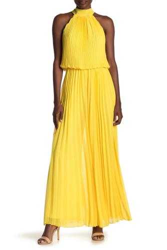 Yellow wide leg jumpsuit rented from Armoire Style