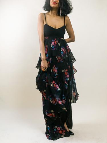 Black and floral maxi dress rented from Armoire Style